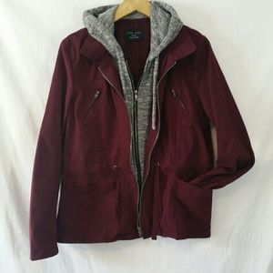 Love Tree Utilty Jacket Cotton Large Hood Burgundy